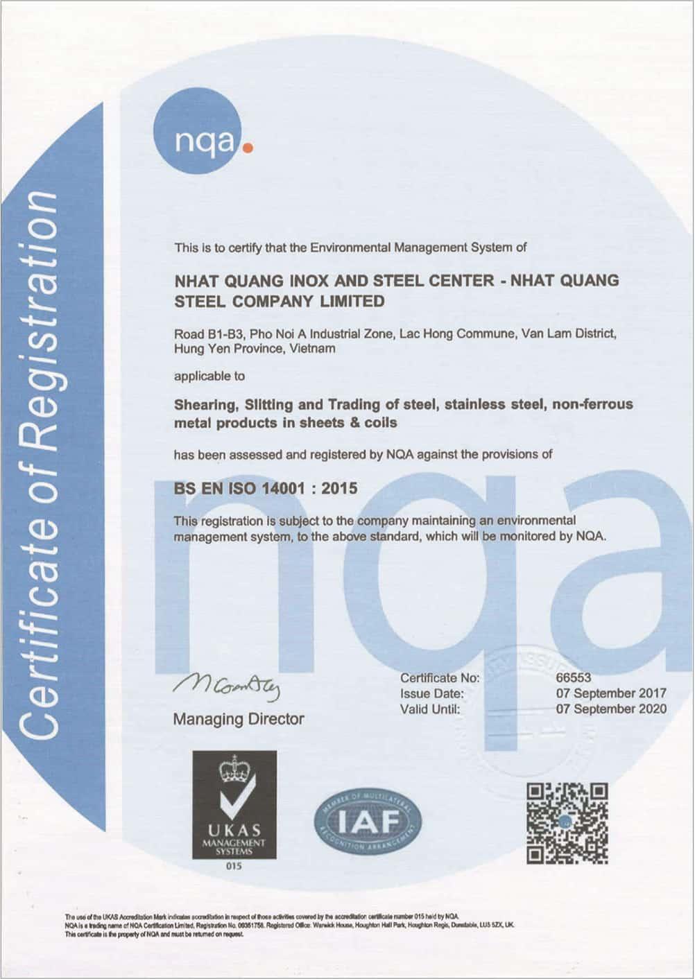 Chứng nhận BS-EN 14001 - 2015 - Coil Center