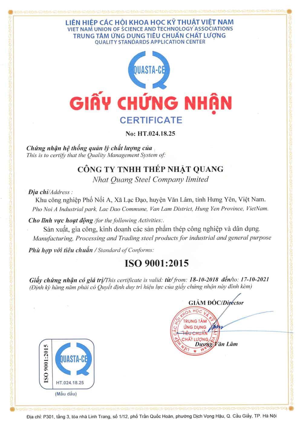 Chứng nhận ISO 9001 - 2015 - NQS