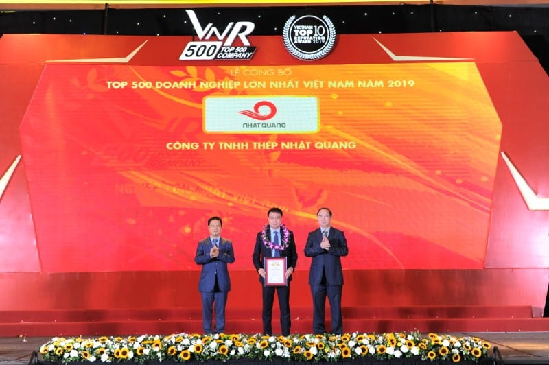 Nhat Quang Steel continues to be firmly in the Top 500 largest enterprises in Vietnam