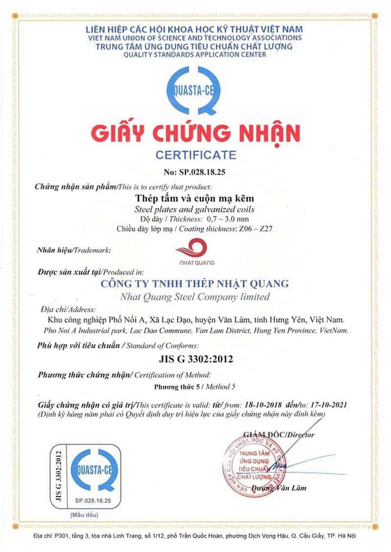 Giấy chứng nhận chất lượng dành cho sản phẩm tại Thép Nhật Quang