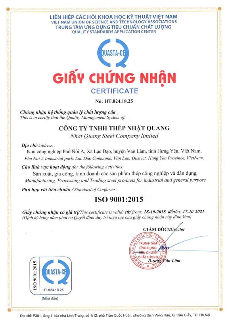 Chứng nhận phù hợp với tiêu chuẩn ISO 9001:2015