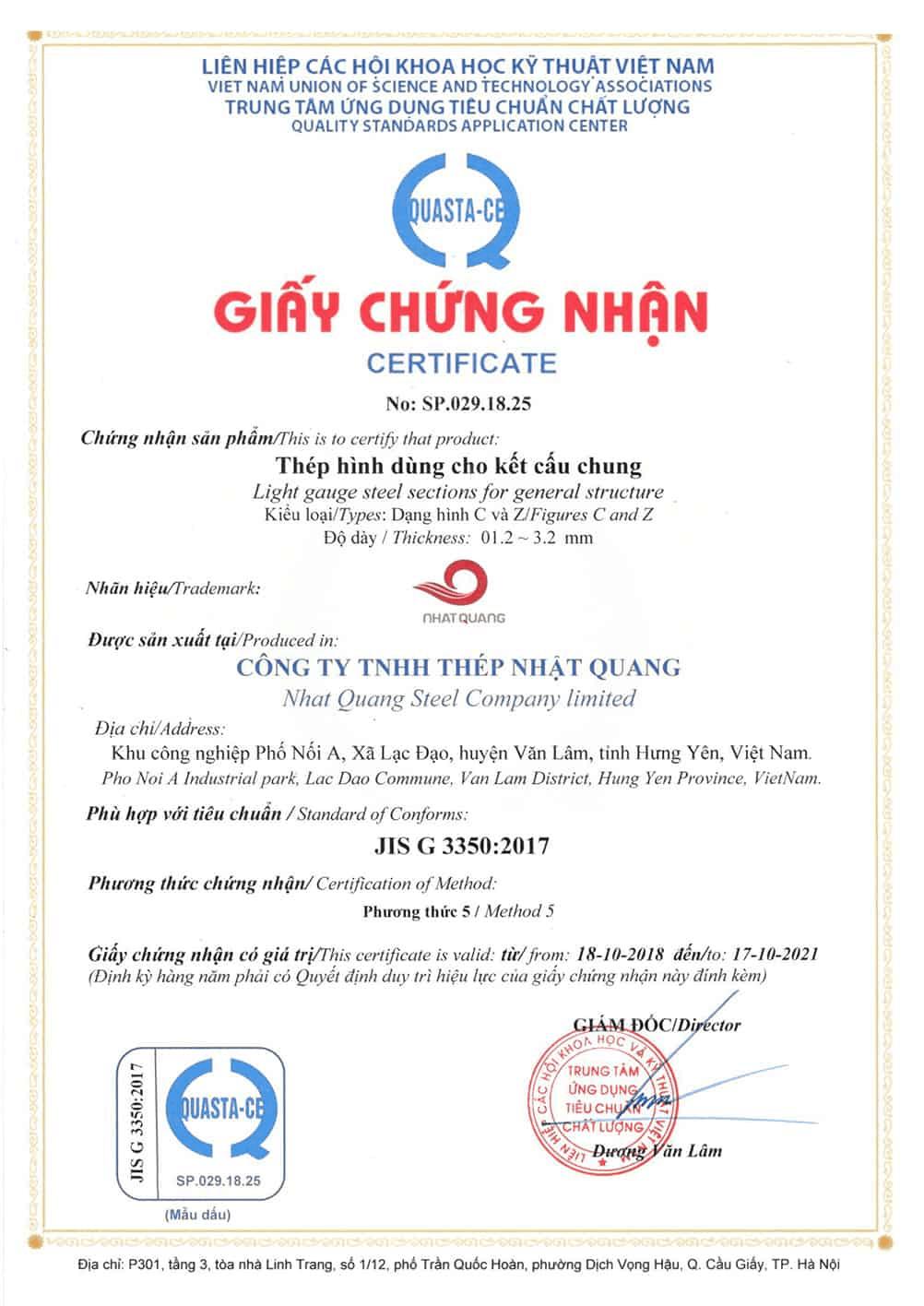 Chứng nhận đạt tiêu chuẩn chất lượng JIS G 3350:2017
