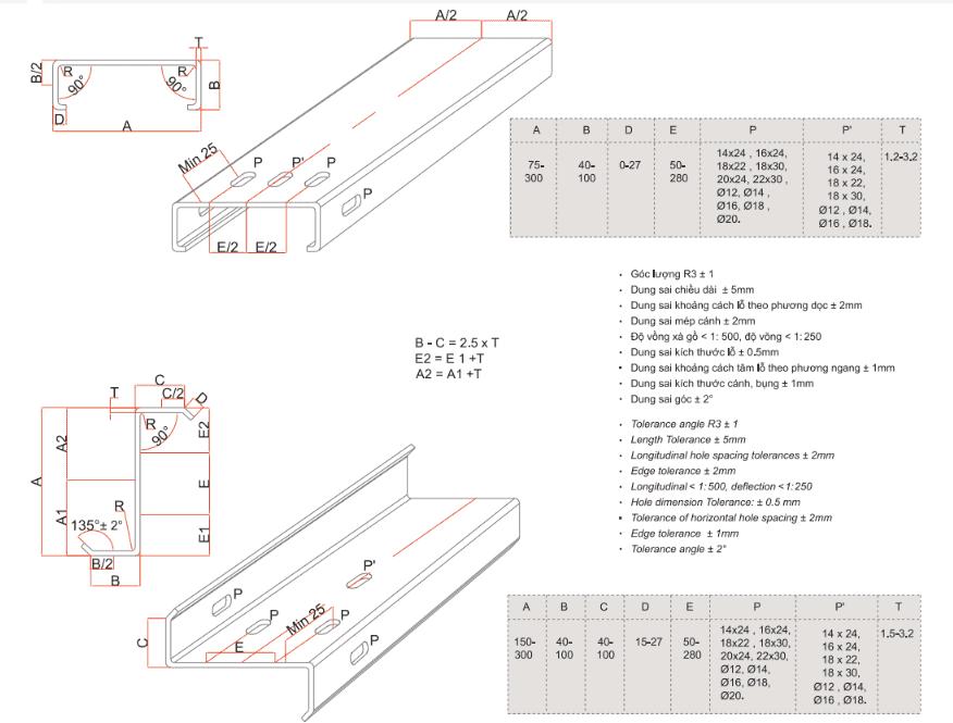 Bản vẽ thông số kỹ thuật