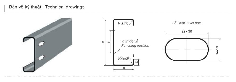 Bản vẽ kỹ thuật sản phẩm Xà gồ thép chữ C cường độ cao G350/G450