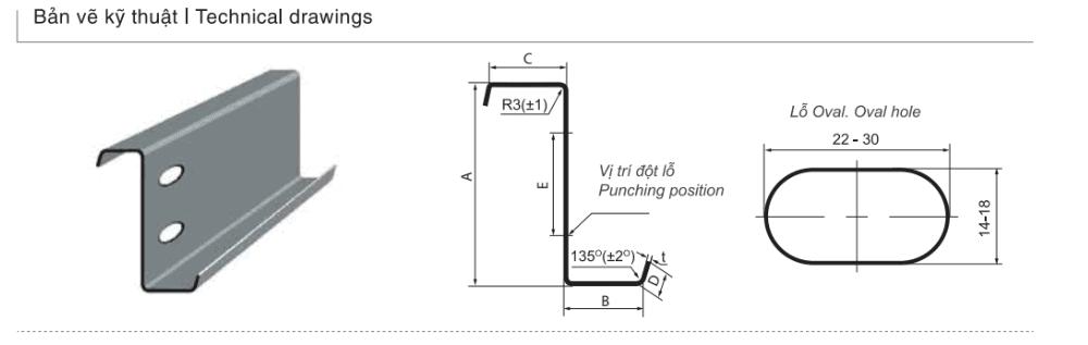 Bản vẽ kỹ thuật sản phẩm Xà gồ thép chữ Z cường độ cao G350/G450