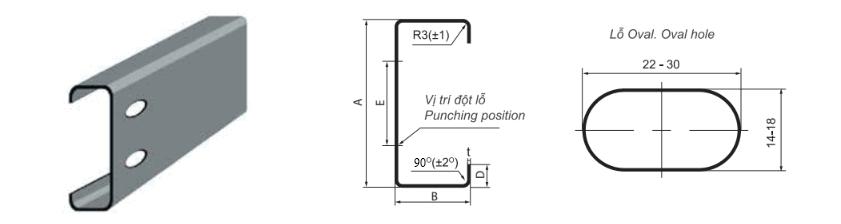 Bản vẽ kỹ thuật Xà gồ thép mạ kẽm chữ C