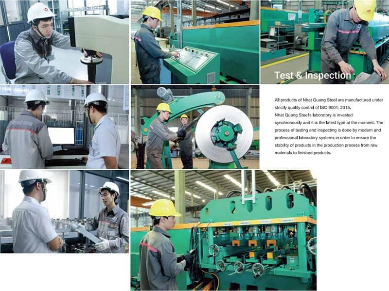 Việc kiểm tra và thử nghiệm xà gồ thép được diễn ra dưới hệ thống máy móc, thiết bị hiện đại, chuyên nghiệp
